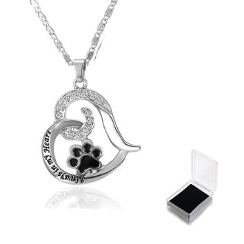Paw Print Heart Pet Lover Pendant Necklace Animal Keepsake Charms jewelry Pet Memorial Jewelry Always in my Heart Dog Cat Foot