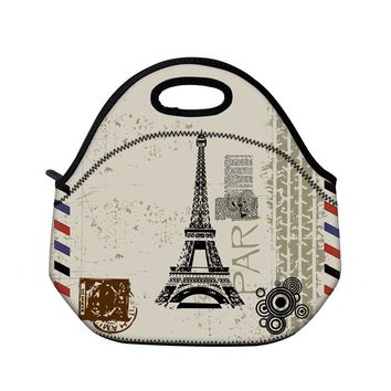 Eiffel Tower Neoprene Insulated Lunch Tote Picnic Travel Portable Lunch Bag Tote Women Handbag Thermal Cooler Box Container