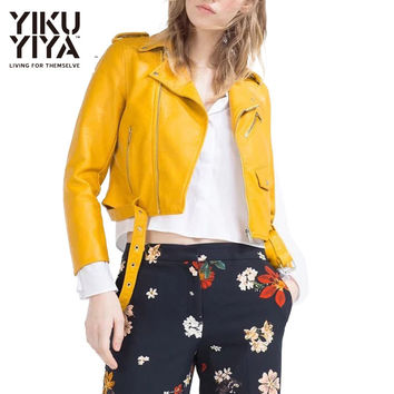 YIKUYIYA Yellow PU Short Biker Jackets Long Sleeve Lapel Pockets Shaping Coats Zipper Sashes Slim Casual Leather Jackets