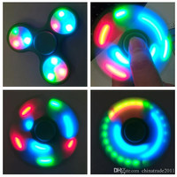Controllable Led Fidget Spinners with Switch Fingertips Hand Spinner Triangle Fingers Spinner Decompres Upgraded LED Hand Gyro Toy Free DHL