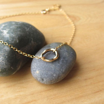 Simple Gold Ring Necklace - Petite Everyday Wear by Yameyu on Etsy