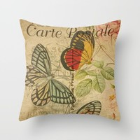 French Butterfly Collage Throw Pillow by digitaleffects