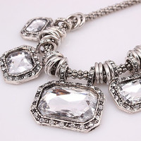 """19"""" The Olivia Fauceted Rectangular Clear Crystal Stones on Silver Popcorn Chain Statement Necklace"""