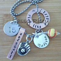 Personalized sports ( softball baseball football soccer) custom charm necklace - hand stamped