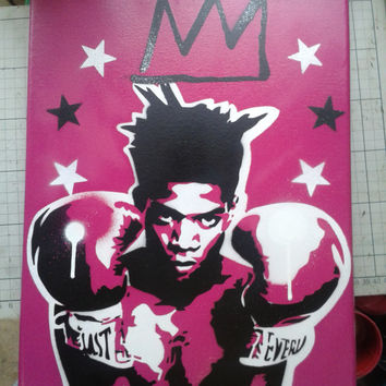 Jean Michel Basquiat painting,12 by 16 inch canvas,king samo,stencils,spray paints,pop art,artist,graf,boxing,crown,stars,pink,white,black,