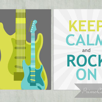 Tween bedroom decor / Wall Art Prints / guitars / keep calm and rock on / set of 2 / 8x10 inch / boy's room decor / lime green, turquoise
