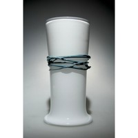 White Torre Cylinder Vase With Pigeon Blue Wrap