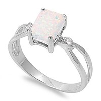 Sterling Silver Rectangle Cushion White Opal and CZ Ring