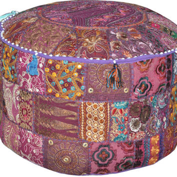 Superbe Purple Indian Bohemian Pouf Ottoman Stool Vintage Patchwork Living Room  Ottoman Pouf Hassock Bench Furniture Pouffe