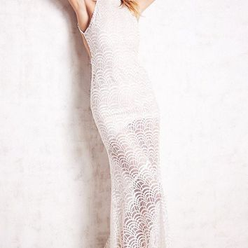 Chicloth White Lacy Fish Scale Open Back Evening Dress