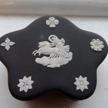 Antique Wedgwood black jasperware trinket dish - victorian - 19th century trinket porcelain ring box vintage vanity