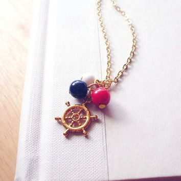 LAST ONE - Hey There Sailor - Nautical Charm Necklace - Gold Ship Wheel Charm Necklace Hipster Modern Cute Adorable Whimsical Dreamy