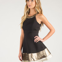 Metallic Trim Skater Dress - Large