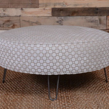 Geo Velvet Upholstered Round Ottoman From Hearthandhomestore On