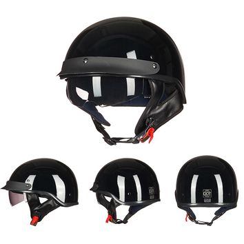 ILM Retro and Vintage Half Open Face DOT Approved Motorcycle Helmet With Visor