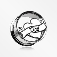 A Pair of 'I Heart Dad' Hollow Steel Double Flared Ear Gauge Plug