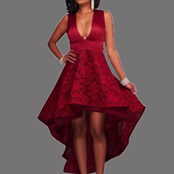 Red Patchwork Lace Irregular Swallowtail Tutu High-Low Homecoming Party Maxi Dress