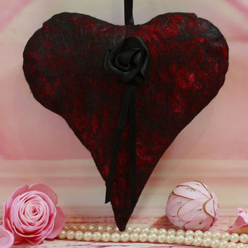 Valentines gift, fabric heart, hanging heart, Goth, home decor, black, lace, heart decoration, vintage, fiber art, gift for her, unusual