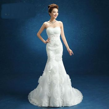 Mermaid Wedding Dress White Rose Off-shoulder Lace Ball Gown Bride Dresses