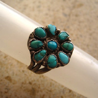 Vintage Handmade Sterling Silver South Western Turquoise Flower Ring