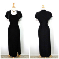 Vintage Black Velvet Dress Great Gatsby Maxi Evening Cocktail Party Prom dress