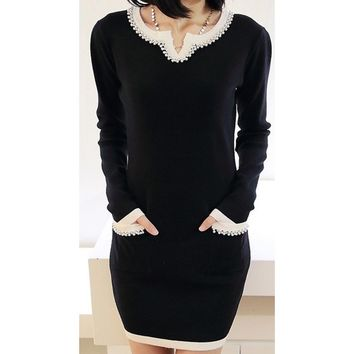 2018 new spring women dress sweet princess dress slim long sleeve knit bottoming coat autumn and winter