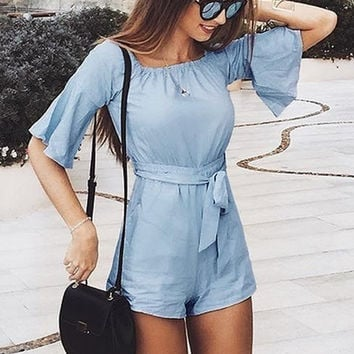 a198213f9324 Fashion Sexy Off Shoulder Flare Sleeve Jumpsuit Romper Elegant Bow Ruffle  Women Overalls Causal Blue Summer
