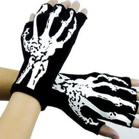 Bone Skeleton Fingerless Gloves Deathrock Gothic Punk Halloween Cosplay Costume