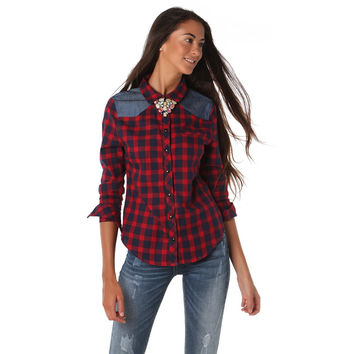 RED CHECK SHIRT WITH LONG SLEEVES