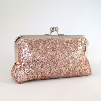 Sequin Clutch. Couture Evening Bag. Rose Pink or Mauve Sequin Fabric. Holiday Party Clutch. New Years Eve Clutch. Bridesmaid Gift Purse