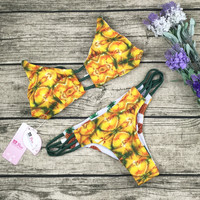 8DESS Sexy Pineapple Print Hollow Swimwear Bikini Set Swimsuit