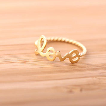 love ring with twisted ringline by bythecoco on Etsy