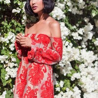 Red Lace Embroidery Off Shoulder Dress | SPREDFASHION