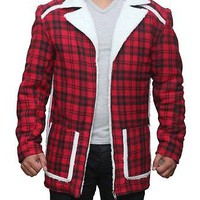 Deadpool Ryan Reynolds Red Shearling Fur Jacket Coat - All Sizes Available...