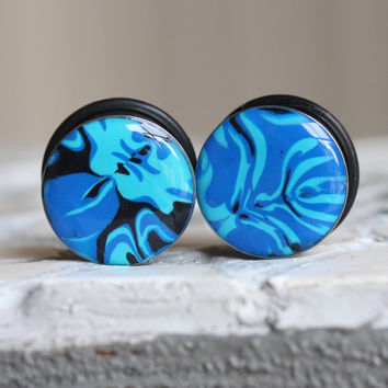"3/4"" Gauges, 19mm Plugs, Blue Plugs, Art Plugs, Single Flare, Stretched Ears, Body Mod - size 3/4"" (19mm)"