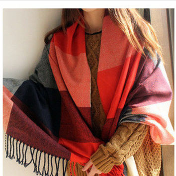 Color Block Long Scarf