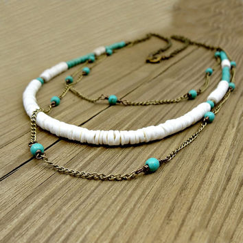 Turquoise and White Long Necklace, Casual Necklace For Her, Howlite and Puka Shell Jewelry