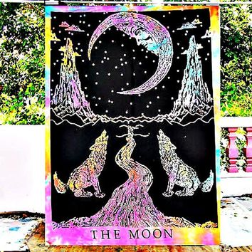 Psychedelic Moon Wolf Wall Boho Hanging Tapestry