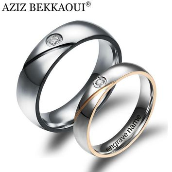 Couple Rings Engrave Name Wedding Rings For Women / Men CZ Crystal Loves Rings 316L Stainless Steel Engagement Promise Jewelry