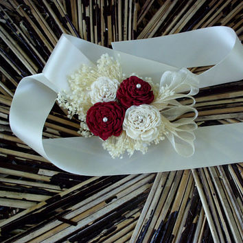 Deep red and cream wrist corsage | sola corsage | red and cream wedding | rustic corsage | wrist corsage | rustic wedding | Winter wedding