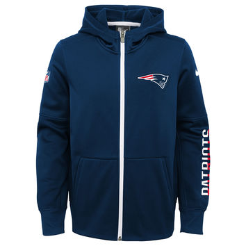 Youth New England Patriots Nike Navy Circuit Therma-FIT Full-Zip Hoodie