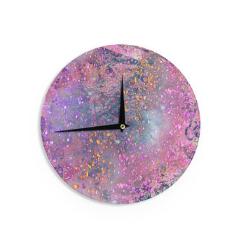 "Marianna Tankelevich ""Pink Universe"" Pink Purple Wall Clock"