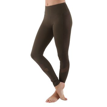 Women's Poly Active Long Yoga Compression Leggings - Olive
