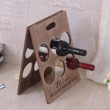 Fashion Accessories Plain Wood Foldable Wine Rack Vintage Wine Bottle Holder Home Décor(Can Put 6 Bottles of Red Wine) (Size: 1,