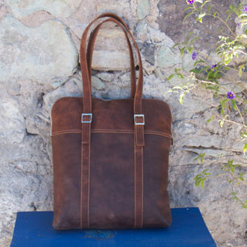 Leather Laptop Leather Tote Bag by WyntopiaLeather on Etsy