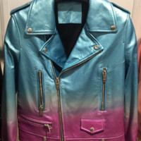 Caliza Metallic Leather Biker Jacket