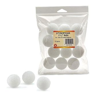 Styrofoam 1 1-2in Balls 12 Pack