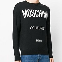 MOSCHINO Fashion Women Letter Jacquard Round Collar Knit Sweater Sweatshirt