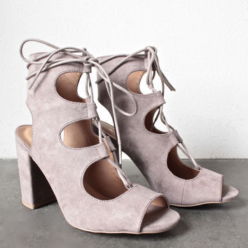 suede lace-up booties - taupe