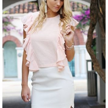 Blush ruffle top | Maddie | escloset.com